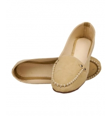 SLN Synthetic Leather Beige Broad Toe Casual Flat