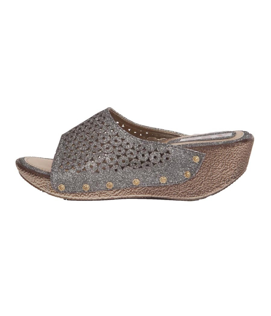 MCS Synthetic Leather Silver Open Toe Broad Strap Party Wedges