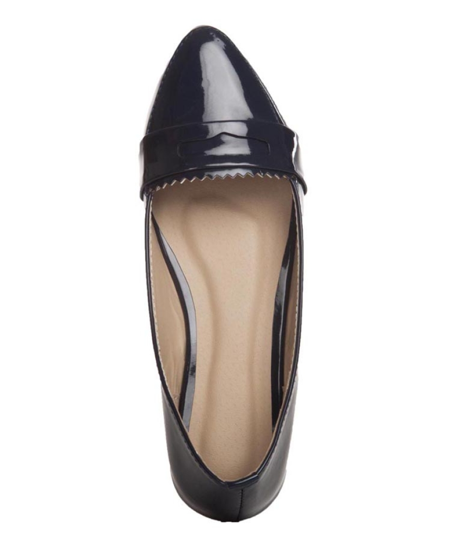 Aridev Enterprises Synthetic Leather Navy Blue Coloured Belly Shoes