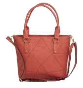 Aliado Faux Leather Solid Peach Coloured Zipper Closure Tote Bag