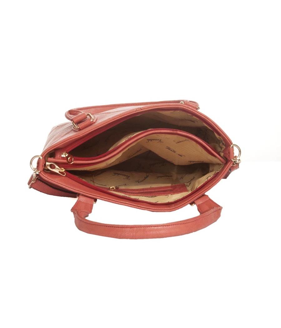 Aliado Faux Leather Solid Peach Coloured Zipper Closure Tote Bag