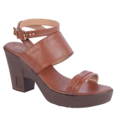 Estatos Synthetic             Leather Buckle Closure Twin Strap Tan  Block Heel Sandals