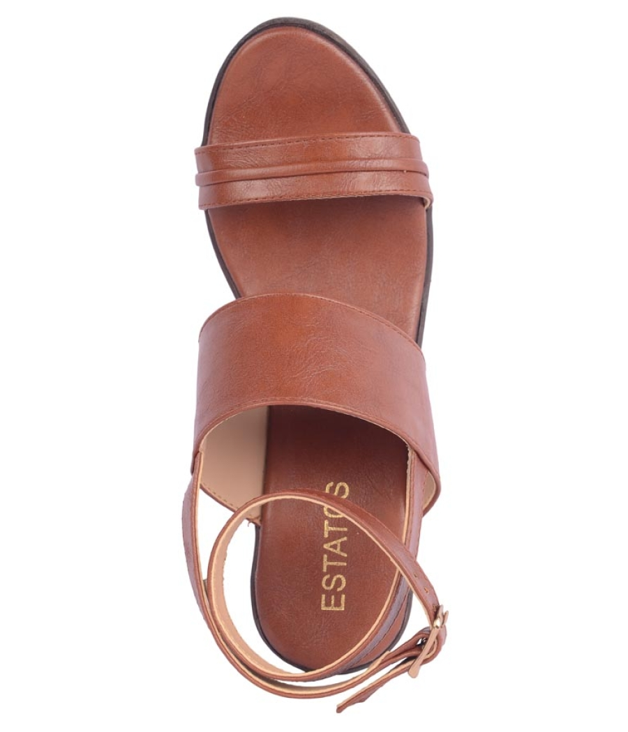 Estatos Synthetic             Leather Buckle Closure Twin Strap Tan  Block Heel Sandals