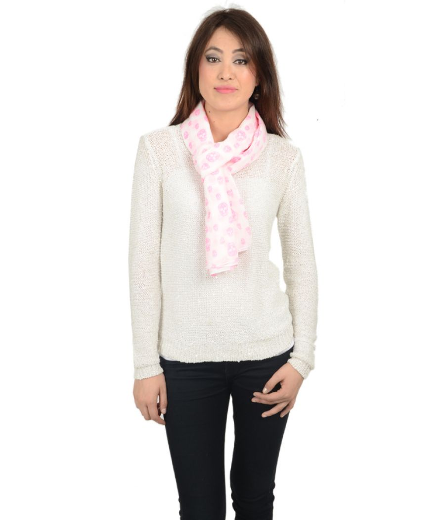 Etashee Certified White and Baby Pink Stole
