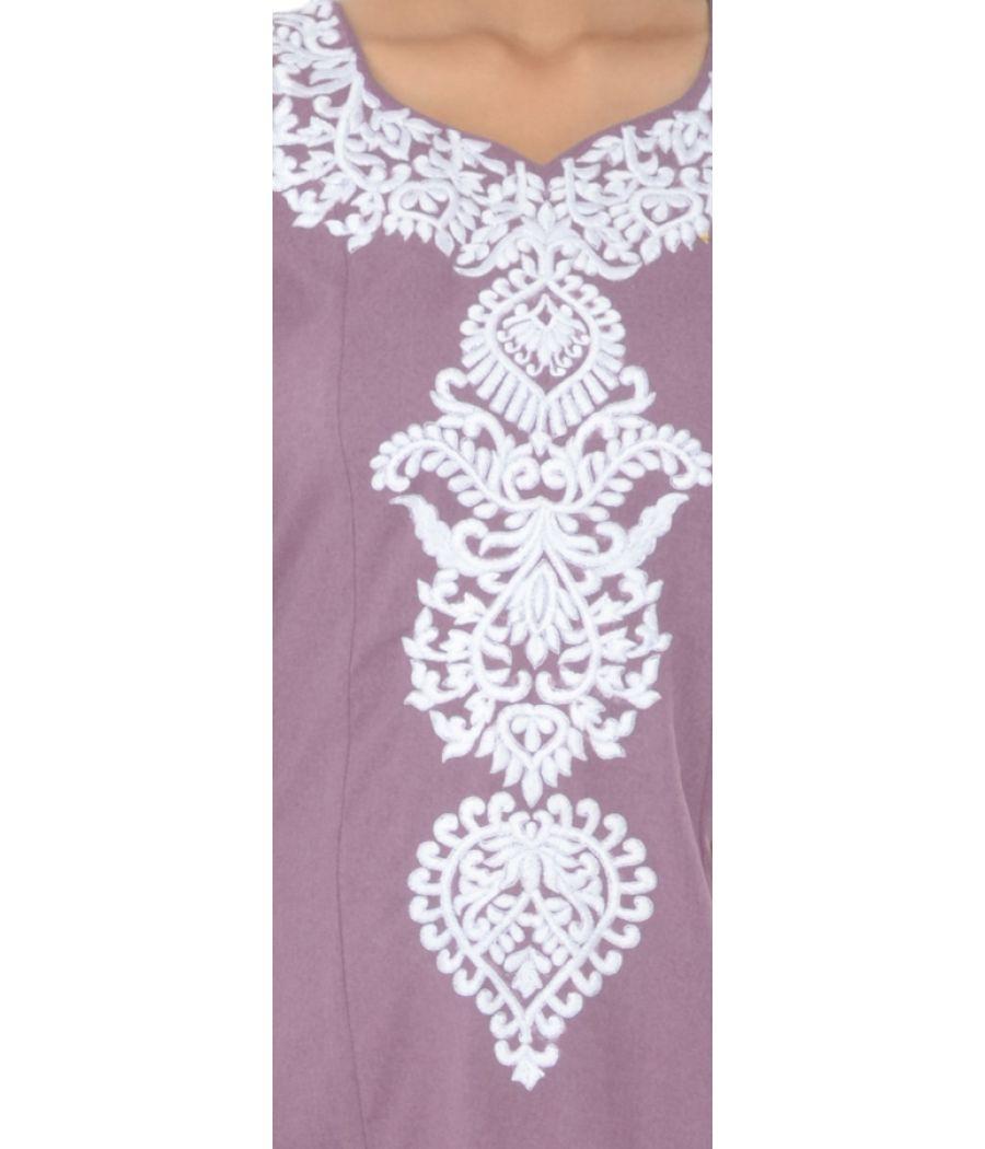 Ginnis Purple Embroidered Kurti