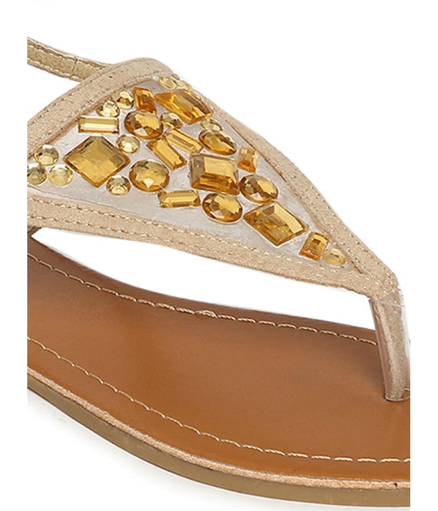 Estatos Suede Beige Buckle Closure Ankle Strap Open Toe Flat Sandals
