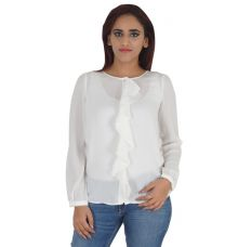 G2000 Woman Crepe Solid White Full Sleeves Round Neck Casual Top