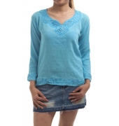 Etashee Certified Rayon Solid Blue Embroidery V Neck Top