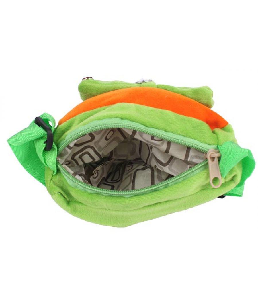 Envie Faux Fur Green and Orange  Coloured Zipper Closure Sling Bag