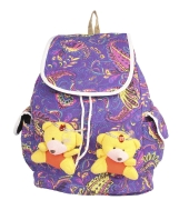 Aliado Cloth Fabric  Purple  and Multi Colour Printed Backpack