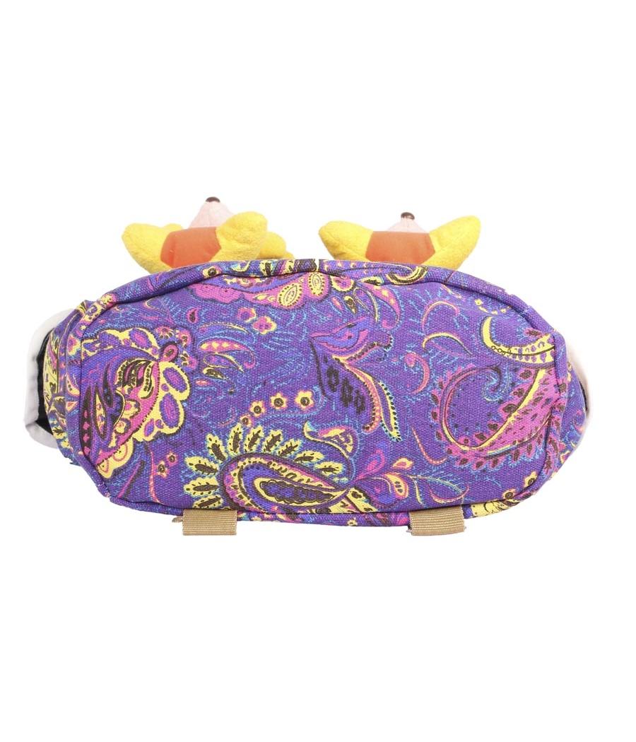 Aliado Cloth Fabric  Purple  and Multi Colour Printed Backpack