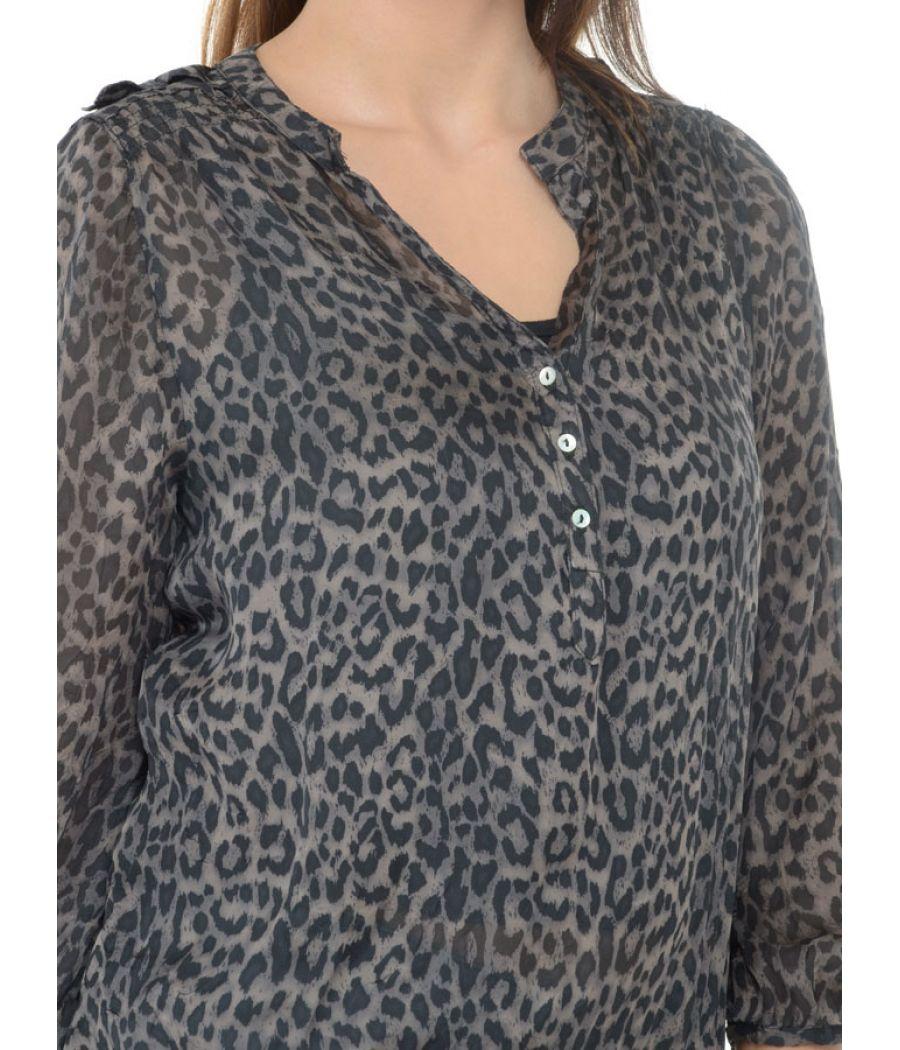 Zara Basic Black Animal Print Top