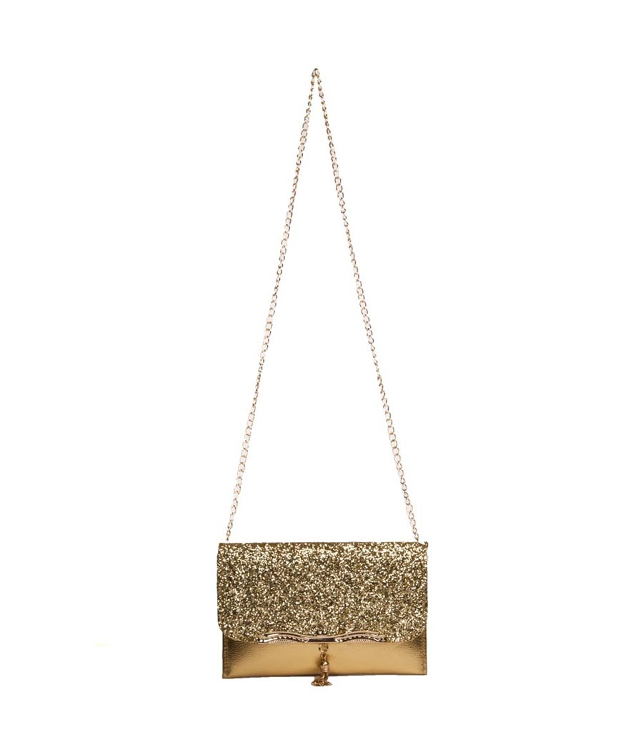 Envie Faux Leather Golden Fold Over Magnetic Snap Lock Sequined Sling Bag for Women