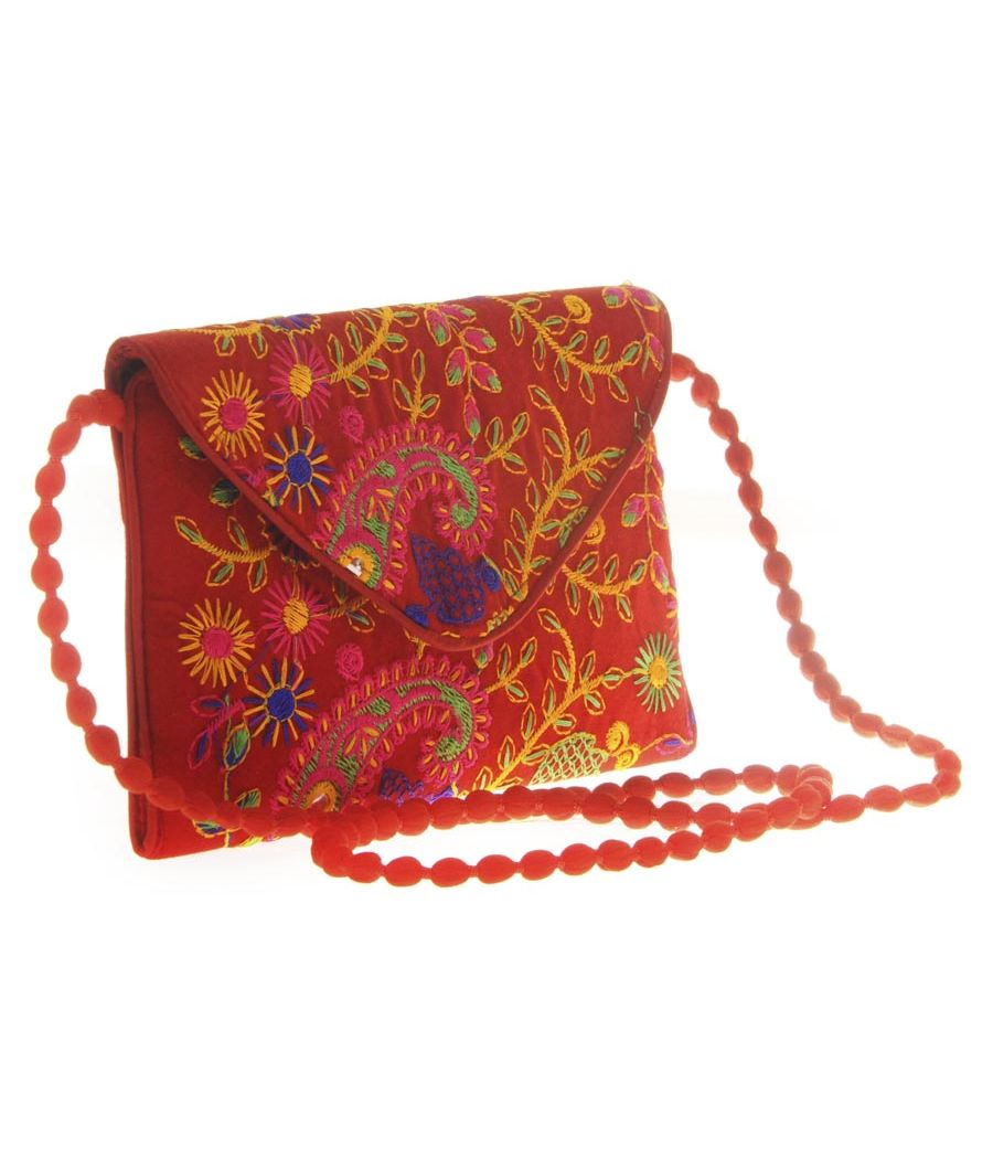 Envie Cloth/Textile/Fabric Embroidered Red & Multi Envelope Style Sling Bag for Women