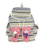Aliado Cloth Fabric Cream and Multi Colour Printed Backpack