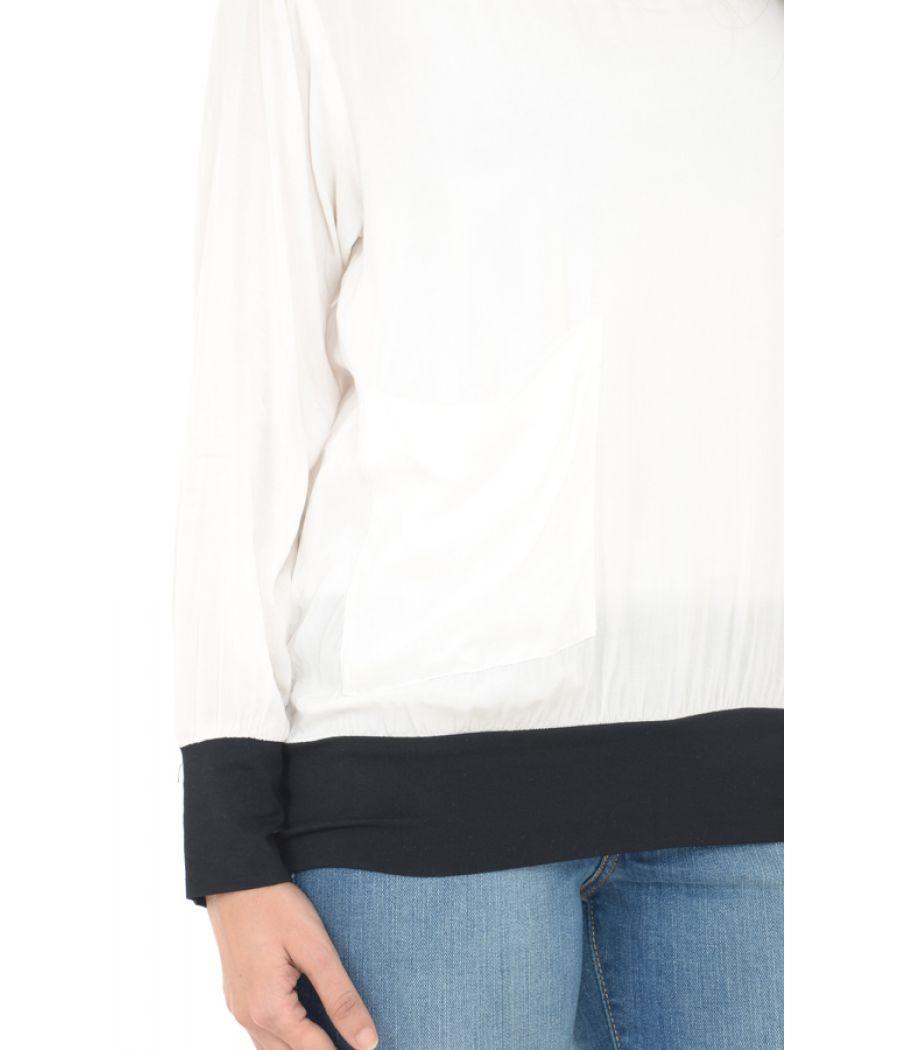 Zara Side Pocket Plain White/Black Top