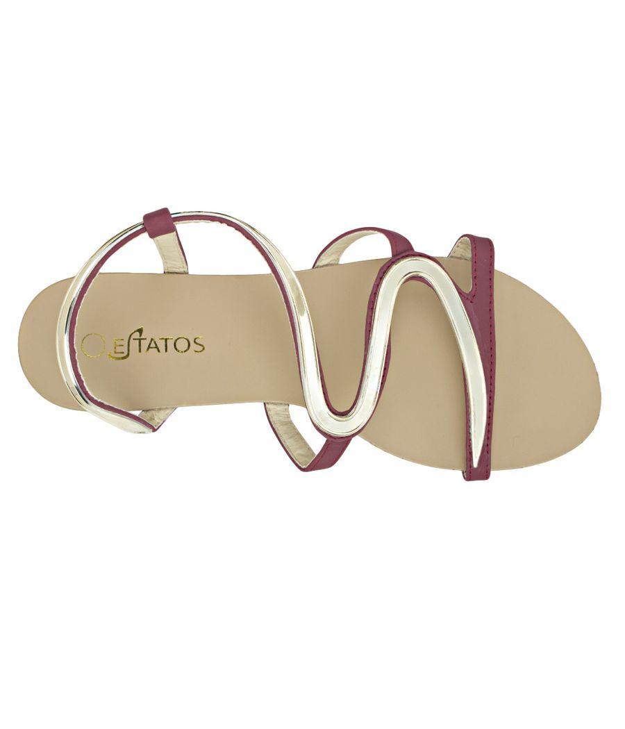 Estatos Faux Leather Open Toe Snake Shape Metallic Strap Burgundy Flat Sandals for Women