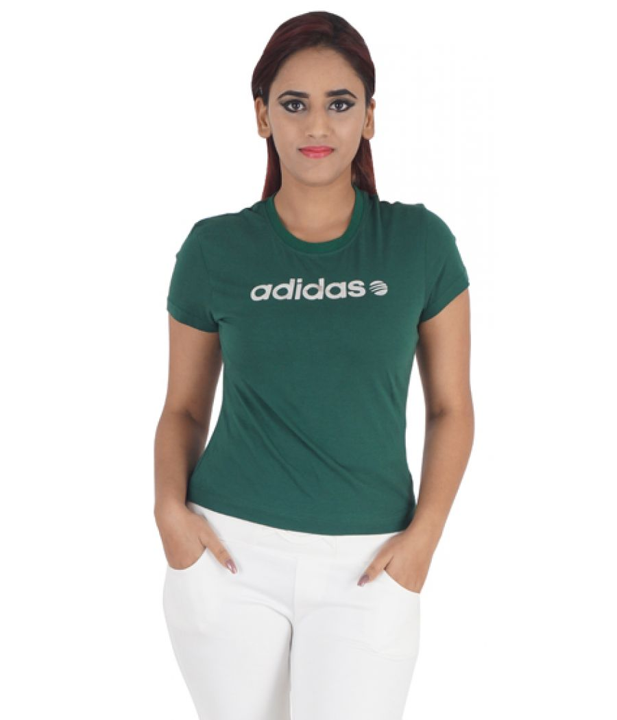 Adidas Lycra Solid Green Half Sleeves Casual Crop Top