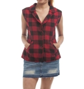Old Navy Cotton Blend Checked Red & Black Sleeveless Jacket