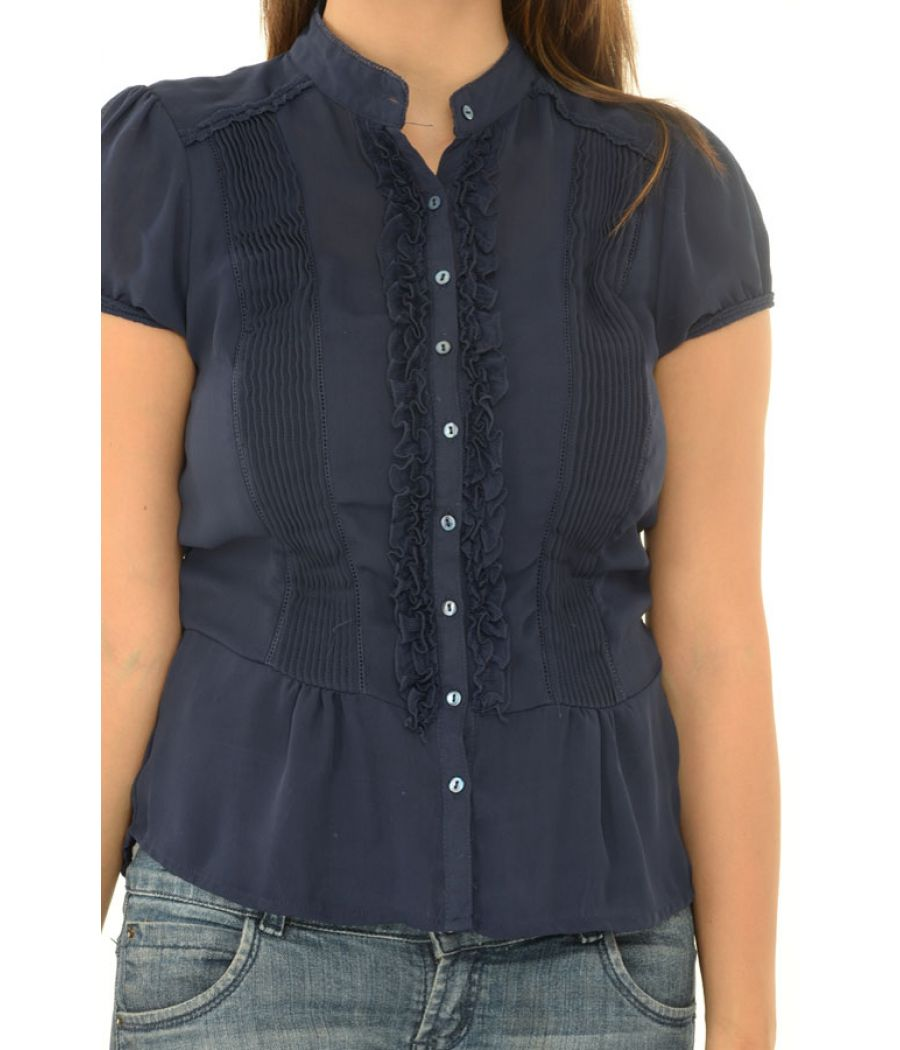 Zara Basic Navy Blue Blouse