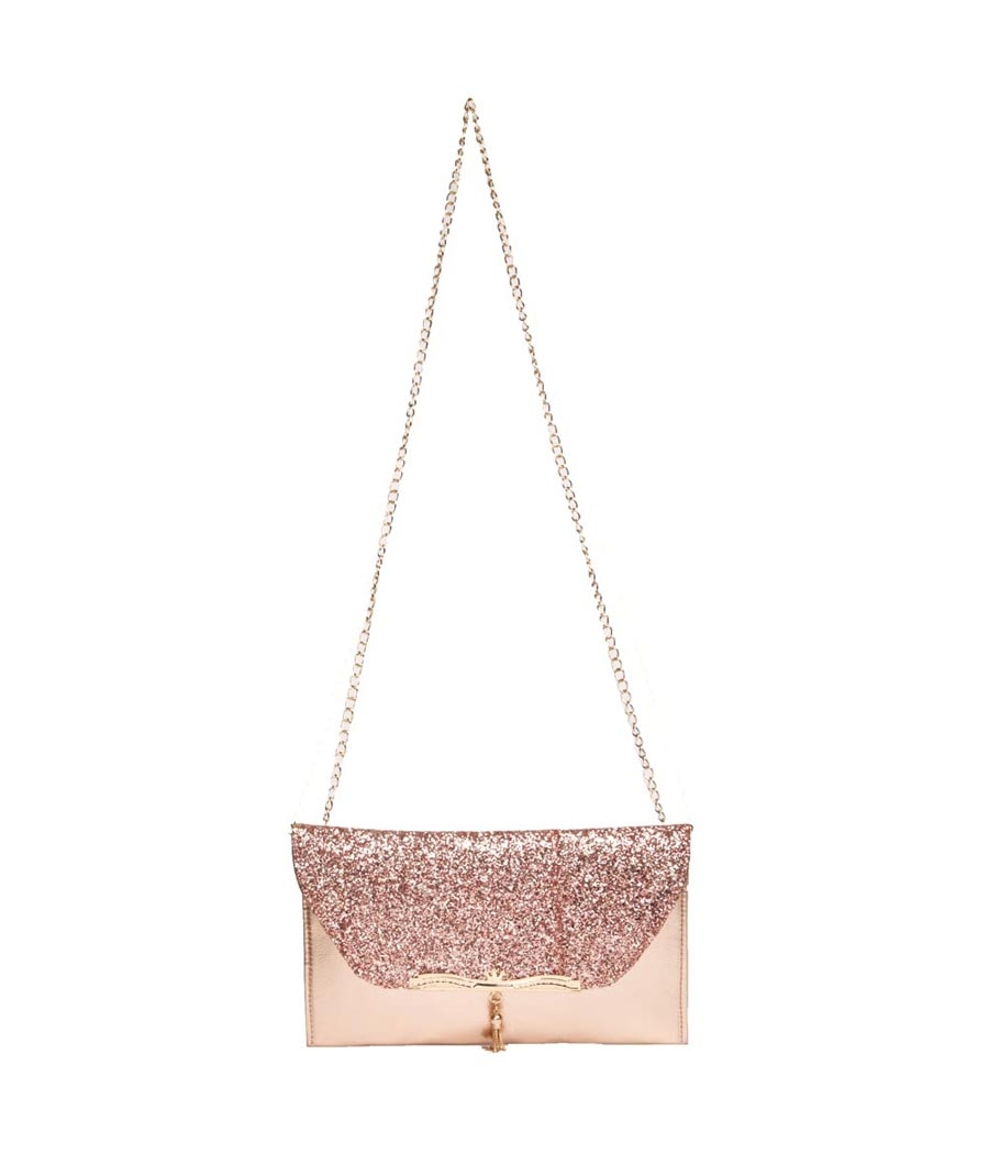 Envie Faux Leather Peach and  Gold Fold Over Magnetic Snap Sequined Sling Bag