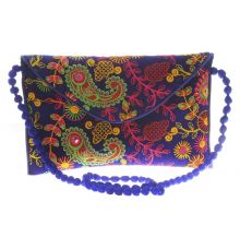 Envie Cloth/Textile/Fabric Embroidered Blue & Multi Magnetic Snap Crossbody Bag for Women