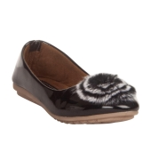 MCS Synthetic Leather Black Coloured Broad Toe Flats for   Women