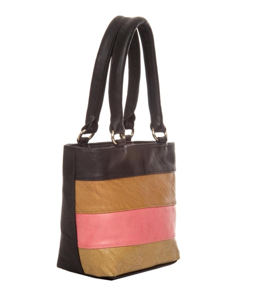 Aliado Faux Leather Solid Black & Multi Zipper Closure Tote Bag
