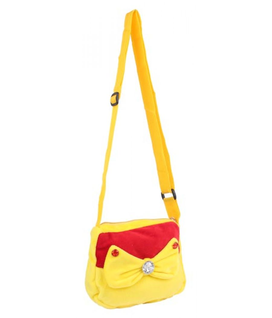 Envie Faux Fur Yellow and Red  Coloured Zipper Closure Sling Bag