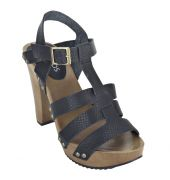 Estatos Pattern Leather Open Toe Buckle Closure Block Wooden Heel Black Gladiator Sandals for Women