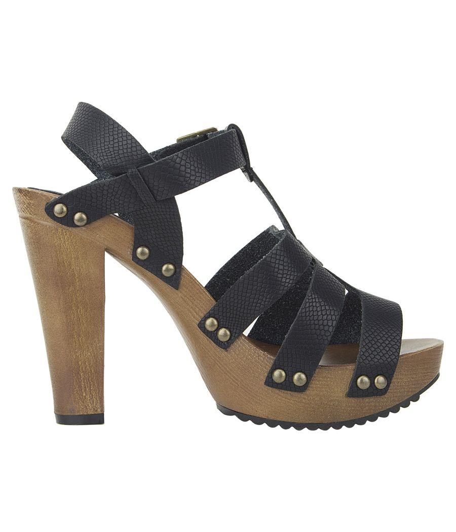 Estatos Pattern Leather Open Toe Buckle Closure Block Wooden Heel Black Gladiator Sandals for Women