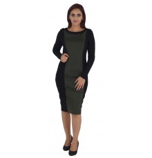 Autograph Polyester Plain Solid Olive and Black Casual Bodycon Dress