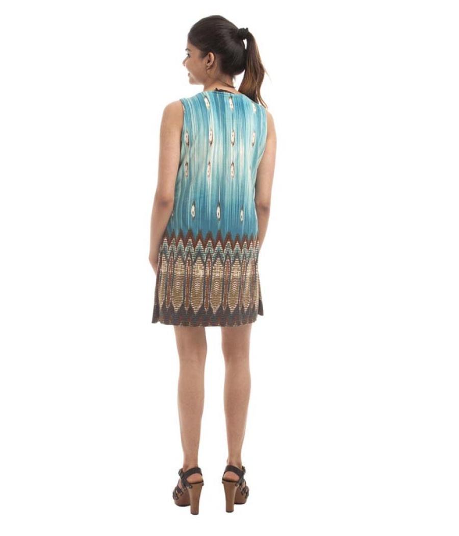 109*F Cotton Plain Geometric Print Sleeveless Casual Dress