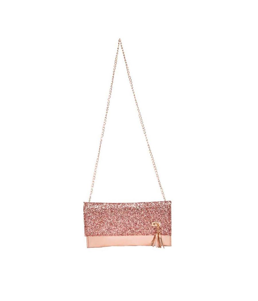Envie Faux Leather Peach Colour Fold Over Magnetic Snap Sequined Sling Bag for Women
