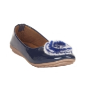 MCS Synthetic Leather Navy Blue Broad Toe Embellished Casual Flats for Women