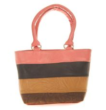 Aliado Faux Leather Solid Peach & Multi Zipper Closure Tote Bag