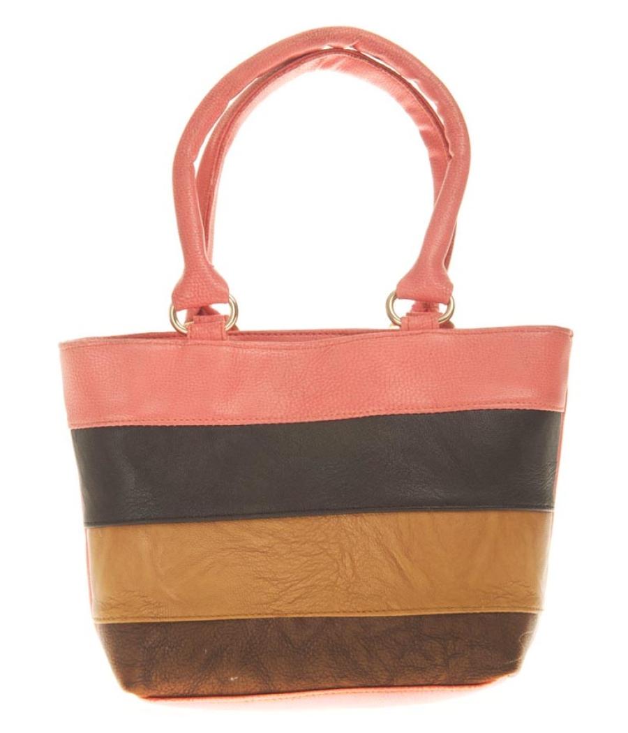 Aliado Faux Leather Solid Peach & Multi Zipper Closure Tote Bag