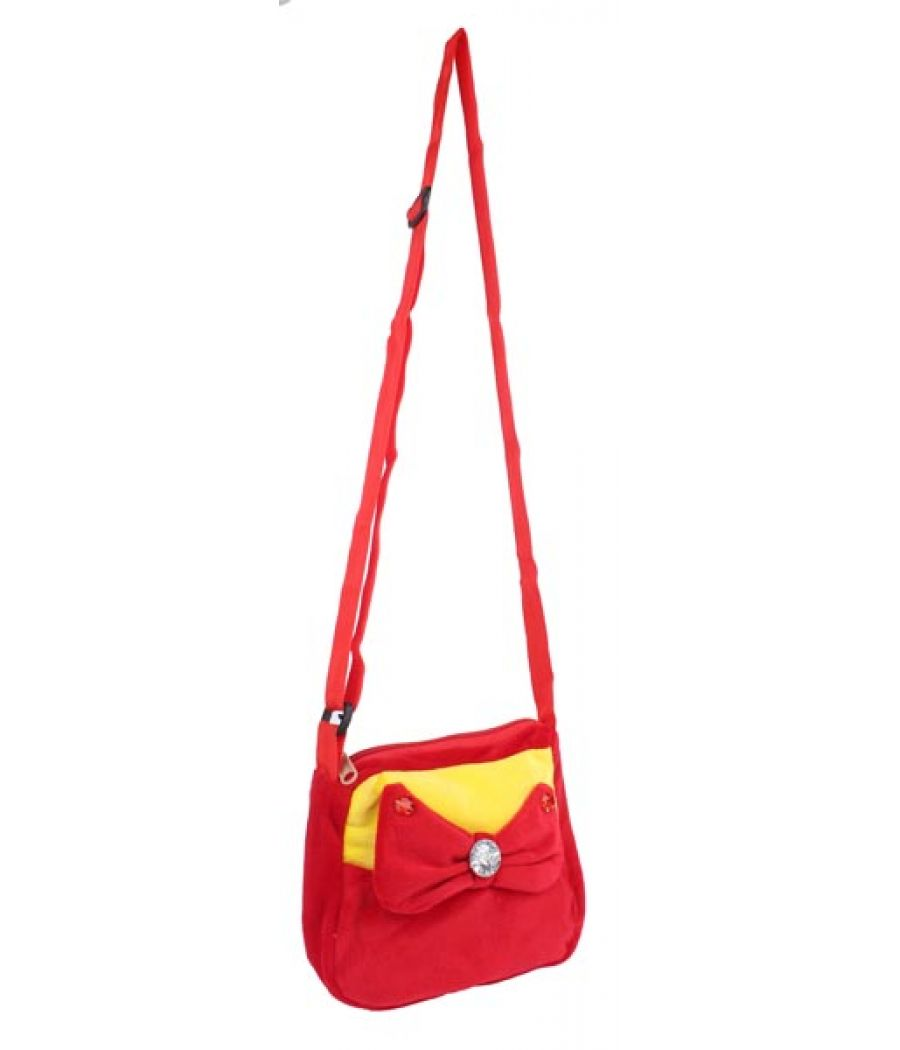 Envie Faux Fur Red and Yellow  Coloured Zipper Closure Sling Bag