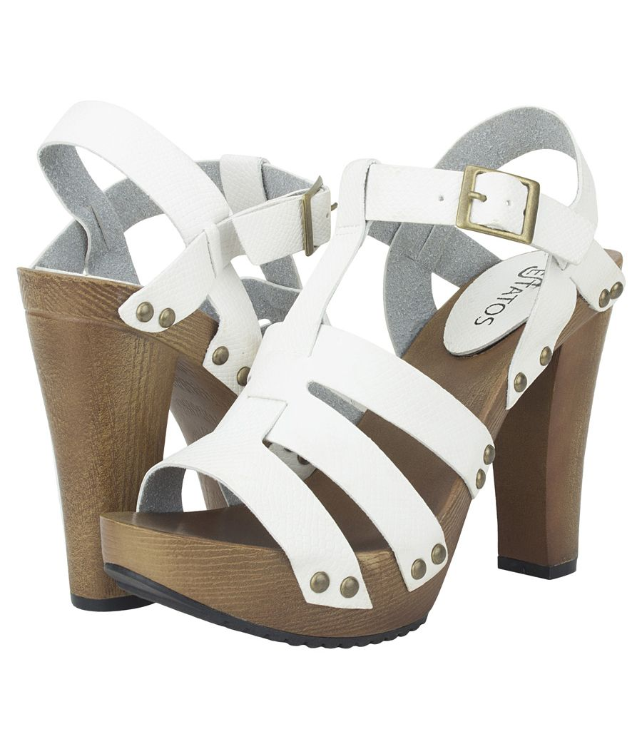 Estatos Pattern Leather Open Toe Buckle Closure Block Wooden Heel White Gladiator Sandals for Women