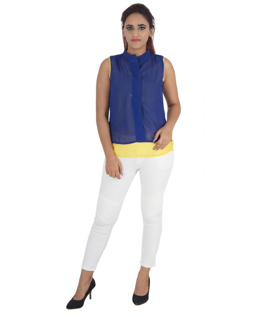 Latin Quarters Crepe Plain Solid Yellow & Navy Blue Sleeveless Casual Tunic