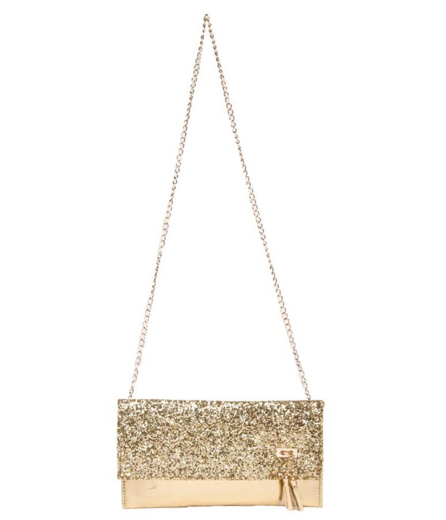 Envie Faux Leather Golden Fold Over Magnetic Snap Closure Sequined Sling Bag for Women
