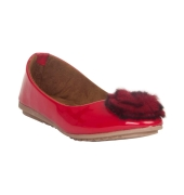 MCS Synthetic Leather Red Coloured Broad Toe Casual Flats for Women