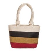 Aliado Faux Leather Solid Cream & Multi Zipper Closure Tote Bag