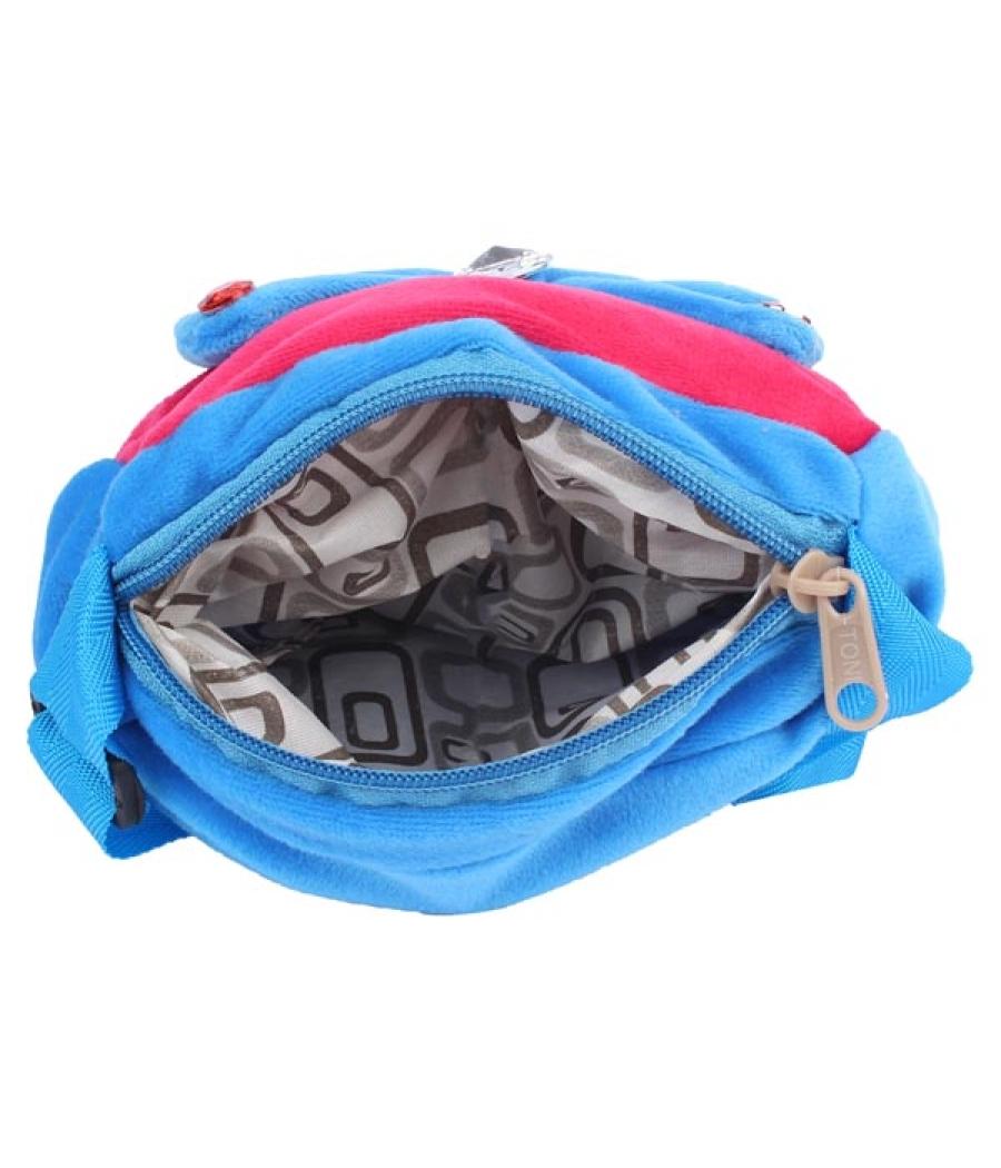 Envie Faux Fur Blue and Pink  Coloured Zipper Closure Sling Bag