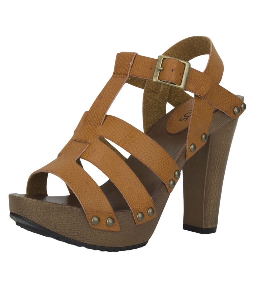 Estatos Pattern Leather Open Toe Buckle Closure Block Wooden Heel Brown Gladiator Sandals for Women