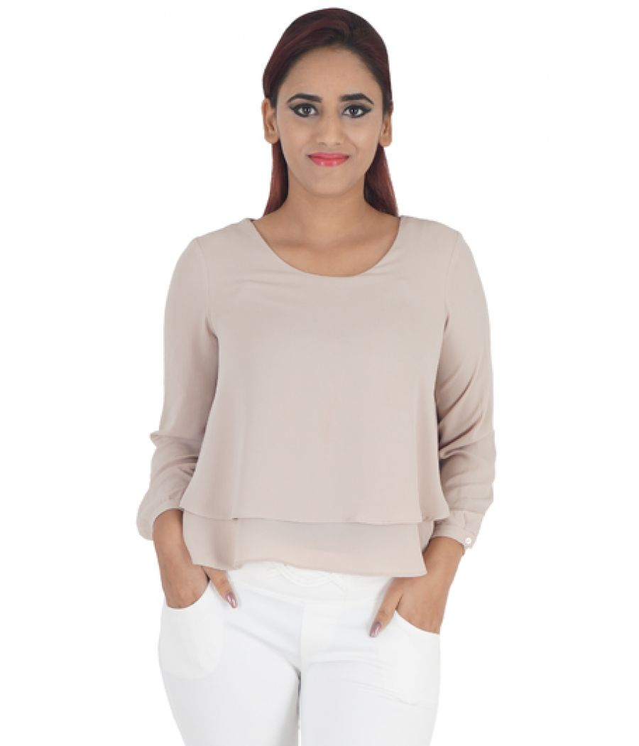 Zara Basic Crepe Plain Solid Purple Coloured Full Sleeves Round Neck Casual Top