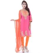 Pink & Orange Embroidered Suit