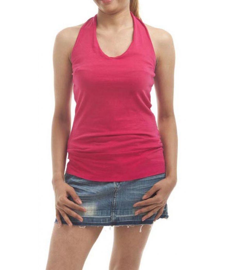 Etashee Certified Hosiery Plain Solid Hot Pink Halter Neck Casual Top
