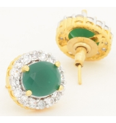 Green Oval Shaped Studs