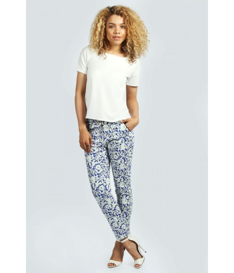 Boohoo Blue Printed Cigarette Trousers